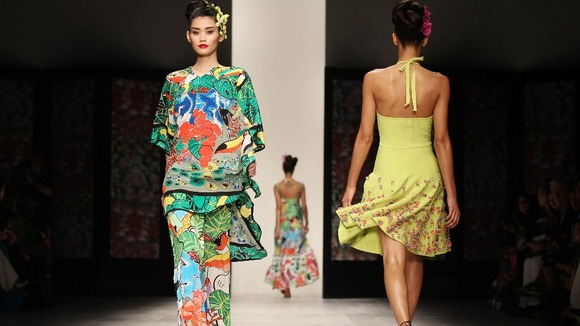 Issa's catwalk show featured bright colours and bold designs