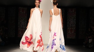 Floral prints featured on a long flowing Issa dress from its spring/summer 2012 collection