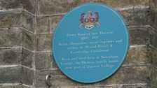 Blue Plaque dedicated to Gwen Reverat on Darwin College
