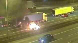 A car caught fire after a crash on the M1 near Luton in Bedfordshire.