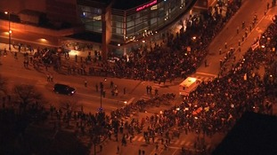 Thousands of protesters gathered outside the venue for Donald Trump's campaign rally in Chicago
