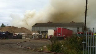 Firefighters tackle blaze at Derbyshire recycling plant