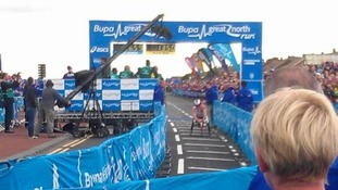Josh Cassidy wins the men's wheelchair Great North Run race.