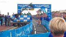 Josh Cassidy wins the men's wheelchair Great North Run race.