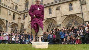 Video: Not quite walking on water... Watch the Bishop of Norwich walk on custard instead