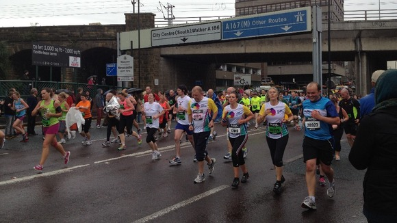 Running towards the Tyne Bridge