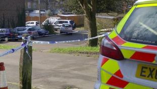 A police cordon at the scene.