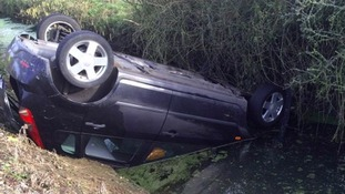 PCSO hailed a 'proper hero' after teenager's car plunges into ditch