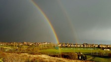 A double rainbow over Oakley Vale in Corby on 5 March 2016.