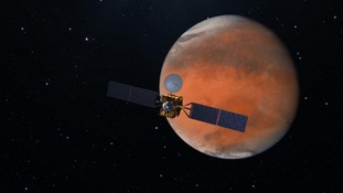 Impression of orbiter spacecraft heading to the Red Planet