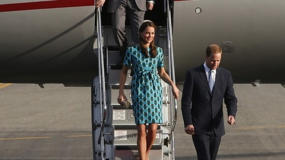 The Duke and Duchess of Cambridge arrive at Henderson Airport in the Solomon Islands