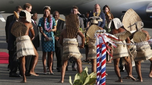 he Duke and Duchess of Cambridge receive a warm reception from the people of the Solomon Islands.