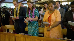 The Duke and the Duchess of Cambridge during a Sunday church service