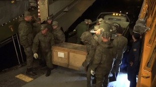 Security personnel have loaded cargo onto the planes as the withdrawal begins at the end of a five-and-a-half month campaign.
