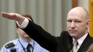 Norway mass murderer Anders Breivik makes Nazi salute as he sues over human rights