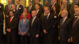 Lord Hague and Prince William with the 40 signatories of the declaration