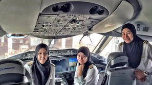 All-female flight crew land in Saudi Arabia where women are not allowed to drive