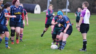 Lily in action for her club (playing in the scrum cap)