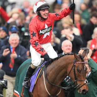 Ryan Hatch after winning the RSA Chase with Blaklion during Ladies Day of the 2016 Cheltenham Festival at Cheltenham Racecourse.