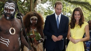 Singing and dancing entertaining the royal couple during their tour of the Solomon Islands