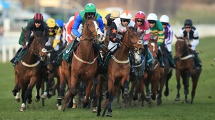 action during the Weatherbys Champion Bumper during Ladies Day of the 2016 Cheltenham Festival