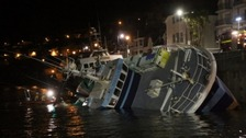 One of the trawlers would not re-right itself due to severe internal flooding.