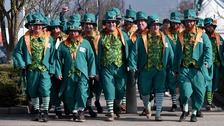 Racegoers in fancy dress during St Patrick's Thursday of the 2016 Cheltenham Festival