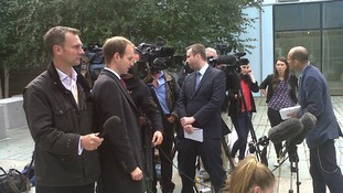Media outside Pc Harwood's disciplinary hearing.