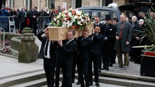 Stars carry Tony Warrens coffin as the streets are lined with well-wishers