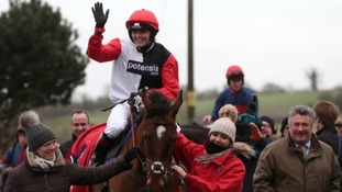 Victoria Pendleton on Pacha Du Polder celebrates winning the Betfair Switching Saddles Hunter Chase at Wincanton Racecourse, Somerset.