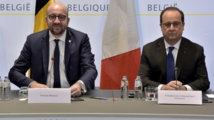 Hollande (right) with Belgian prime minister Charles Michel
