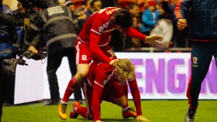 Middlesbrough's David Nugent (top) celebrates scoring his side's first goal of the game with team-mate Adam Clayton during the Sky Bet Championship match at the Riverside Stadium, Middlesbrough.