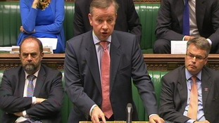 Education Secretary Michael Gove in the House of Commons this afternoon