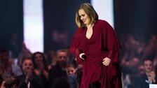 Adele on stage at London's O2 Arena during the 2016 BRIT Awards