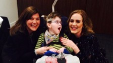 Ross Donnan with his mum Clair and Adele ahead of her concert at the O2