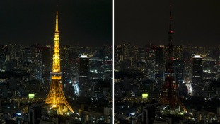 Tokyo Tower before Earth Hour and during