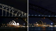 Sydney Opera House before Earth Hour and after