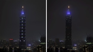 The Taipei 101 tower was among the buildings to go dark in Taiwan