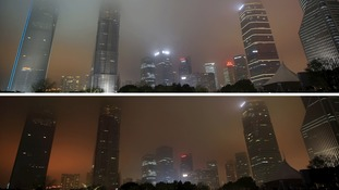 Pudong financial district in Shanghai, China, joined Earth Hour