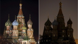 St. Basil's Cathedral in Moscow, Russia, during last year's Earth Hour