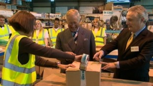 Prince Charles laughs at gaffer tape gaffe