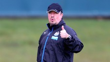 Rafael Benitez takes a training session.