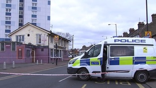 A police van by the the pub on New Barn Street