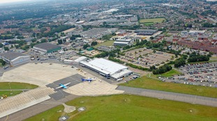 An aerial view of Norwich International Airport where a fire broke out earlier today