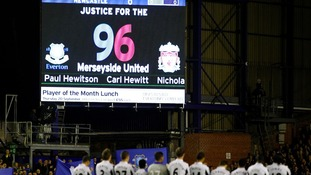 The tribute to the 96 on the big screens at Hillsborough