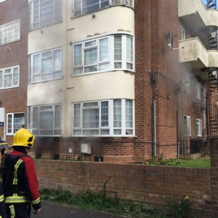 White watch respond to an electrical basement fire, 22 adults & 15 children evacuated from block.