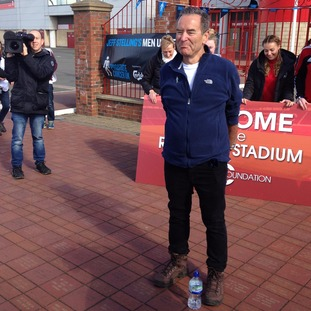 Jeff passing the Riverside Stadium in Middlesbrough on his 260 mile journey