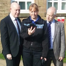PCSO Marie Garfoot, Ian Shanks from Durham County Council's Education Services and David Kerry, Headteacher of Benfieldside Primary School near Consett