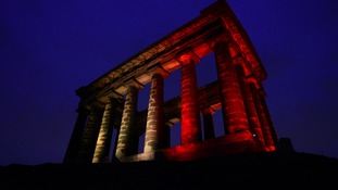 Penshaw monument lit up in the Belgian colours