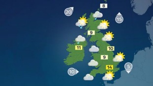 Sunny spells in the south and east with temperatures reaching 14 Celsius.